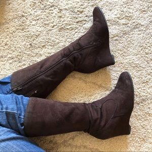 Shoes - Brown suede-like wedge boots 6.5 zipper tall